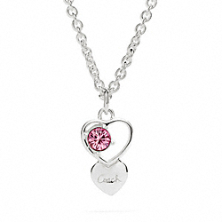 COACH STERLING OPEN HEART STONE NECKLACE - ONE COLOR - F96685