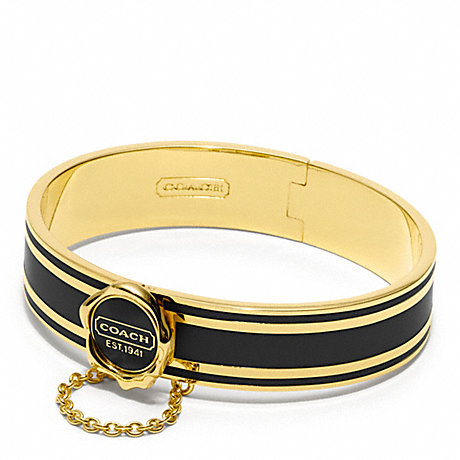 COACH COACH ENAMEL HINGED BANGLE - GOLD/BLACK - f96691