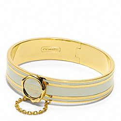 COACH COACH ENAMEL HINGED BANGLE - GOLD/WHITE - F96691
