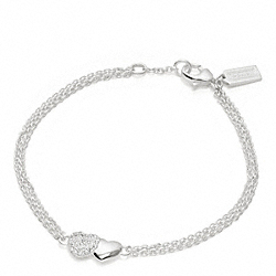 COACH STERLING TWO HEARTS BRACELET - ONE COLOR - F96706
