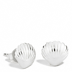 COACH STERLING SHELL STUD EARRINGS - ONE COLOR - F96708