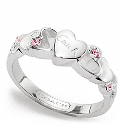 COACH STERLING OPEN HEART STONE RING - ONE COLOR - F96712
