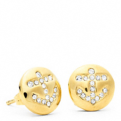 COACH ANCHOR BUTTON STUD EARRINGS - ONE COLOR - F96731