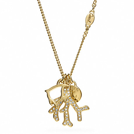 coach f96751 small coral charm necklace coach new