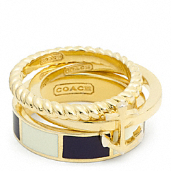 COACH ANCHOR STRIPE STACKING RING - ONE COLOR - F96755