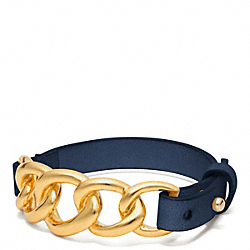 COACH CHAIN LEATHER BRACELET - GOLD/MARINE - F96761