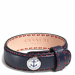 COACH ANCHOR LEATHER BRACELET - SILVER/NAVY - F96765