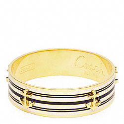 COACH THREE QUARTER INCH ANCHOR STRIPE BANGLE - GOLD/NAVY - F96767