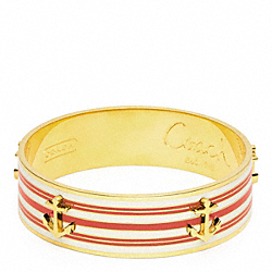 COACH THREE QUARTER INCH ANCHOR STRIPE BANGLE - GOLD/RED - F96767