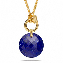 STONE PENDANT NECKLACE - f96776 - GOLD/BLUE