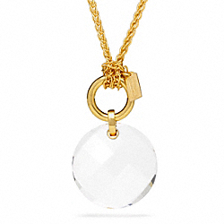 STONE PENDANT NECKLACE - GOLD/CLEAR - COACH F96776