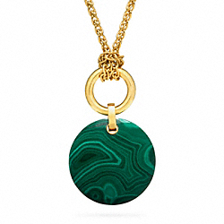 STONE PENDANT NECKLACE - GOLD/GREEN - COACH F96776