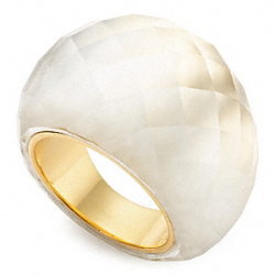 FACETED BUBBLE RING - f96779 - GOLD/CLEAR