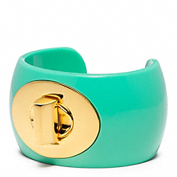 COACH TURNLOCK CUFF - GOLD/TURQUOISE - F96807