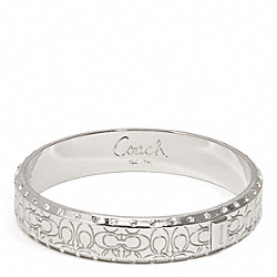 COACH HALF INCH PAVE SIGNATURE BANGLE - SILVER/SILVER - F96819