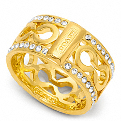 PIERCED PAVE OP ART BAND RING - f96825 - GOLD/CLEAR