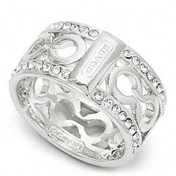 COACH PIERCED PAVE OP ART BAND RING - SILVER/CLEAR - F96825
