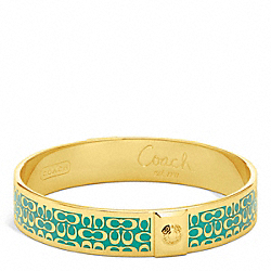 COACH HALF INCH SIGNATURE BANGLE - GOLD/BRIGHT JADE - F96855