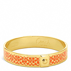 COACH HALF INCH SIGNATURE BANGLE - GOLD/CORAL - F96855