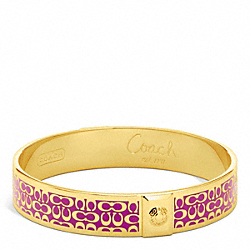 COACH HALF INCH SIGNATURE BANGLE - GOLD/FUCHSIA - F96855