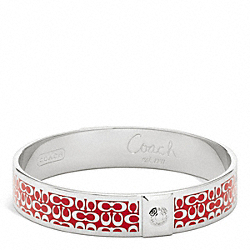 COACH HALF INCH SIGNATURE BANGLE - SILVER/RED - F96855