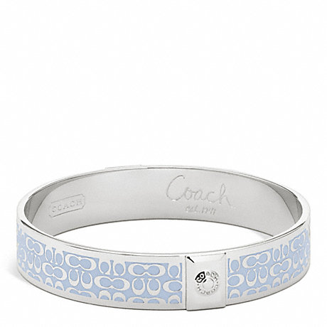 COACH HALF INCH SIGNATURE BANGLE - SILVER/SKY - f96855
