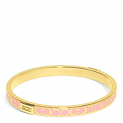 COACH THIN SIGNATURE BANGLE - GOLD/PINK TULLE - F96857