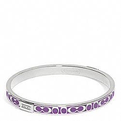 COACH THIN SIGNATURE BANGLE - SILVER/BRIGHT ORCHID - F96857