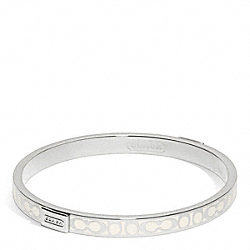COACH THIN SIGNATURE BANGLE - SILVER/WHITE - F96857