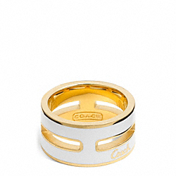 COACH F96866 - ENAMEL GRID RING GOLD/WHITE