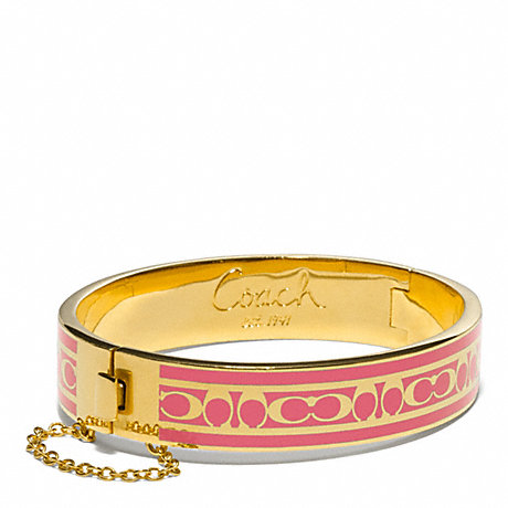 COACH SIGNATURE C CHAIN HINGED BANGLE - GOLD/PINK - f96888