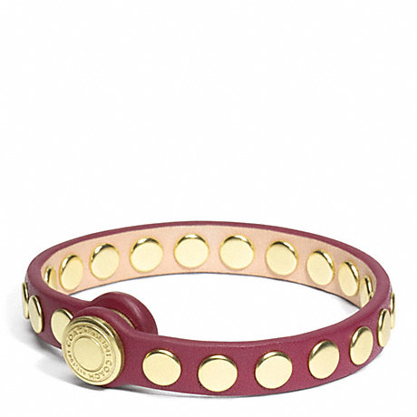 COACH SKINNY STUD LEATHER BRACELET - BRASS/PORT - f96894