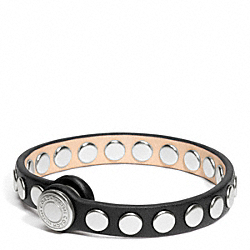 SKINNY STUD LEATHER BRACELET - SILVER/BLACK - COACH F96894