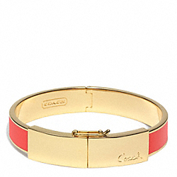 COACH HALF INCH THIN HINGED LOZENGE BANGLE - GOLD/RED - F96908