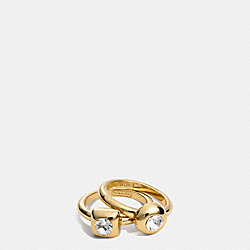 COACH STONE RING SET - GOLD/CLEAR - F96917
