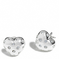 COACH STERLING PAVE HEART STUD EARRINGS - ONE COLOR - F96919