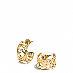 PIERCED OP ART HUGGIE EARRINGS - GOLD/GOLD - COACH F96923