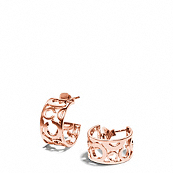 COACH PIERCED OP ART HUGGIE EARRINGS - ROSEGOLD - F96923