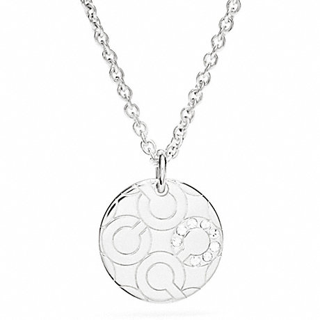 COACH STERLING PAVE OP ART DISC NECKLACE -  - f96934