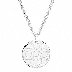 COACH STERLING PAVE OP ART DISC NECKLACE - ONE COLOR - F96934