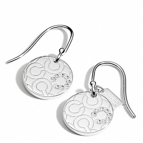 COACH STERLING PAVE OP ART DISC EARRINGS -  - f96963