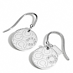 COACH STERLING PAVE OP ART DISC EARRINGS - ONE COLOR - F96963