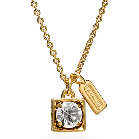 COACH BEVELED SQUARE PENDANT NECKLACE - GOLD/CLEAR - f96981