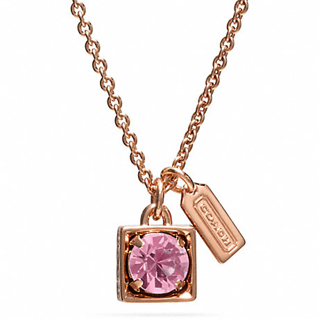 COACH BEVELED SQUARE PENDANT NECKLACE - ROSEGOLD/PINK - f96981