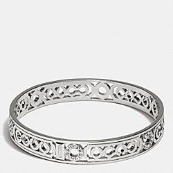 PIERCED OP ART LOZENGE BANGLE - f96993 -  SILVER
