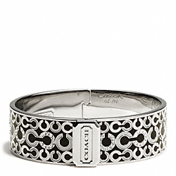 THREE QUARTER INCH HINGED OP ART BANGLE COACH F96998