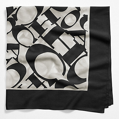 COACH COACH WORDMARK SQUARE SCARF - BLACK - f97624