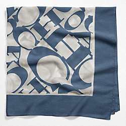 COACH WORDMARK SQUARE SCARF - NAVY - COACH F97624