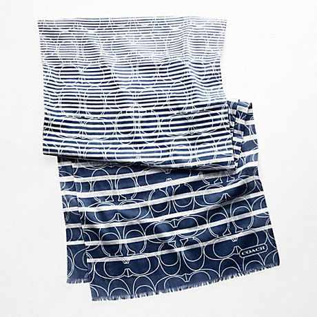 COACH OUTLINE SIGNATURE STRIPE OBLONG SCARF - NAVY - f97627