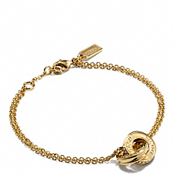 COACH LINKED RONDELLE BRACELET - GOLD/GOLD - F99551